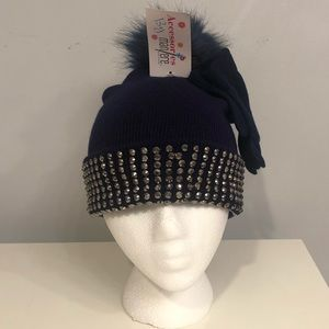 Faux Fur Hat with faux rhinestone